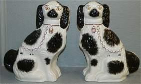 19th C pair of Staffordshire Spaniels 13 tall