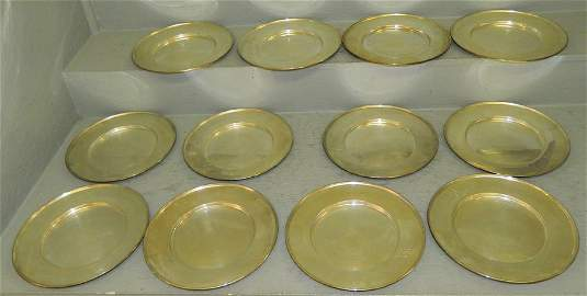 12 sterling serving plates hallmarked  172 t.o.