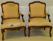 Pr Louis XV walnut oversize Fr carved fauteuils