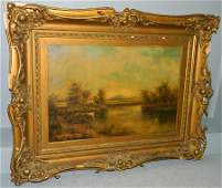 19th c OOC country scene of cattle and lake