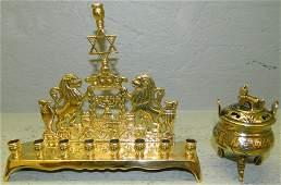 Brass footed incense burner  brass menorah