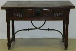 Late 18th C. Italian 2 dwr wal. iron stretcher table