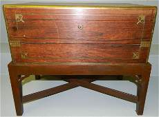 19th c. mahog. campaign style lap desk on stand