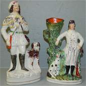 2 19th c Staffordshire figures/spill vases