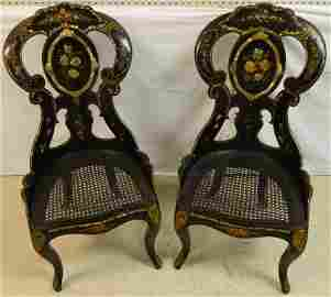 Pair of 19th C English paper mache chairs