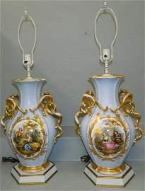 Large pair of fantastic Old Paris lamps