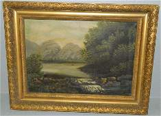 19th C OOC of mountain and lake scene