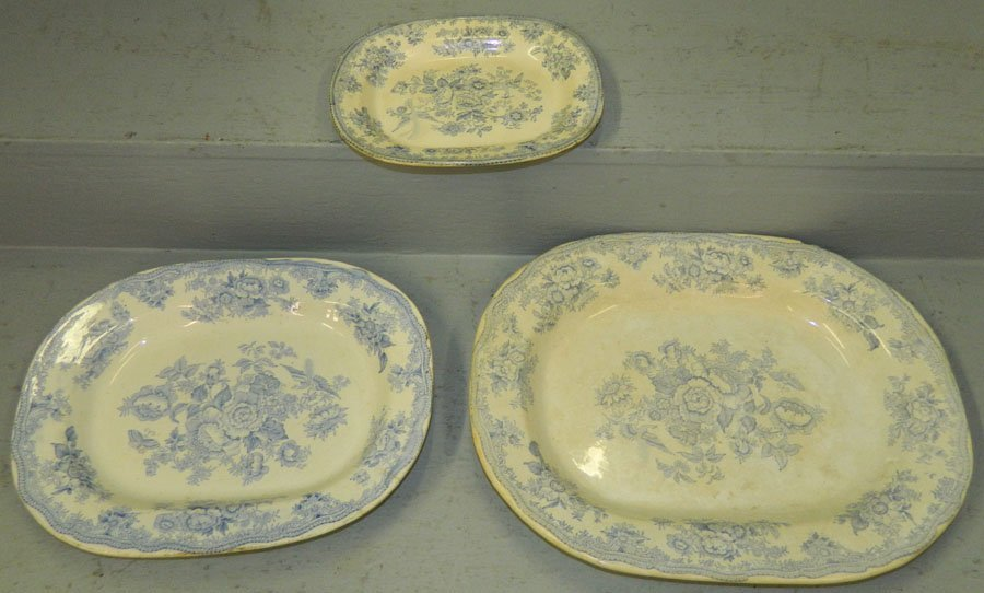 "3 19th C.""Asiatic Pheasant"" transferware platters."