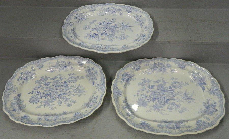 """3 """"Asiatic Pheasant"""" 19th C. transferware platters."""