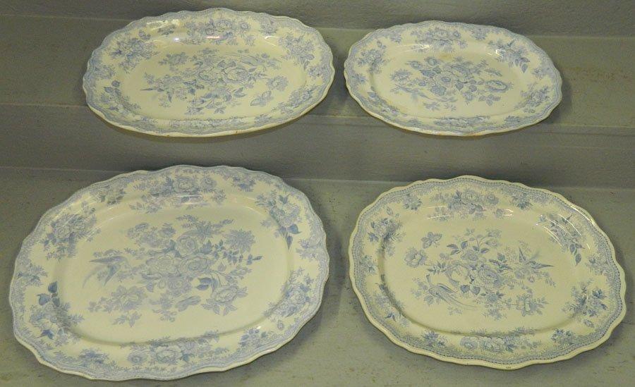 """4 """"Asiatic Pheasant"""" 19th C. transferware platters"""