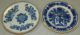 2 Late 18th Or Early 19th C. Blue Delft Plates.