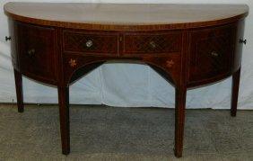 Late 19th C. Demilune Mahogany Hw Sideboard