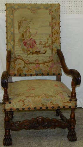 19th C. Tapestry Upholstered Italian Arm Chair.