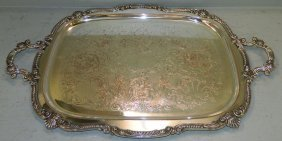 2 Handle Silver On Copper Tray.