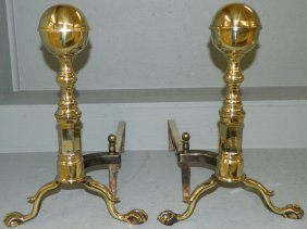 Pr.19th C. Ball & Claw Brass Cannonball Andirons.