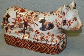 19th C. Chinese Porcelain Opium Den Cat Pillow.