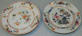 2 Chinese Export 19th C Famille Rose Plates.