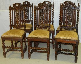 Set 6 Carved Eng. Oak Barley Twist Dining Chairs.