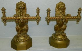 Pr. 19th C. Standing Lion Brass Fire Tool Holders.
