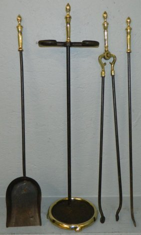 Set Of 4 Brass And Iron Fire Tools W/ Holder.