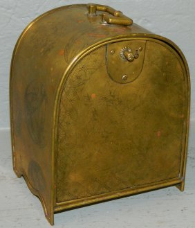 Oriental Brass Dome Top Fitted Lock Box.