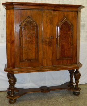 18th C. Burl Walnut Continental Cabinet On Stand.