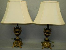 Pr. French Bronze And Onyx Cherub Lamps.