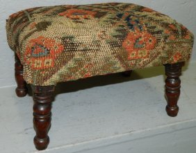 Small Turned Leg Stool W/oriental Rug Upholstery.
