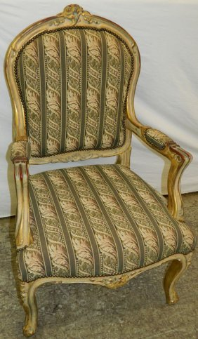 French Louis Xvi Floral Carved Fauteuil.