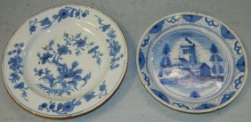 2 18th C. Blue And White Delft Shallow Bowls.