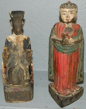 Pr.polychrome Dec. Early Carved Wooden Santos .