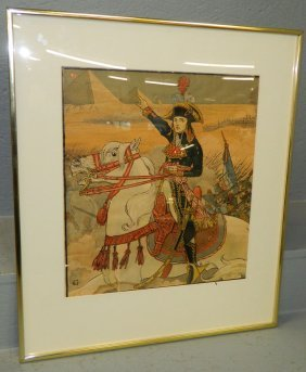 Framed Lithograph Of Napoleon In Egypt.