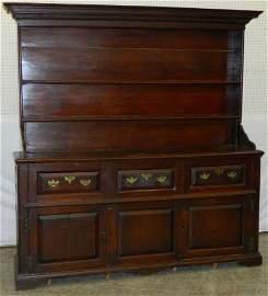18th C. English oak Welsh cupboard.