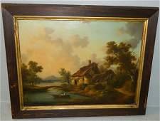 19th C OOC cottage on lake scene