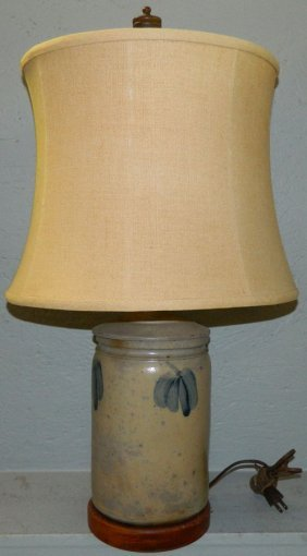 Blue Decorated Crock Converted To Lamp.