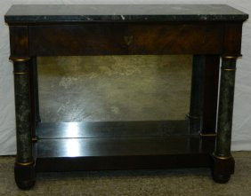 American Classical Marble Top Petticoat Table.