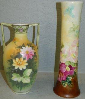 H.p. Nippon Vase & Hand Painted Austrian Vase.