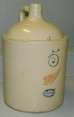 Signed Red Wing 5 Gallon Stoneware Jug.