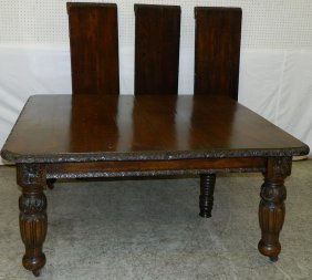 English Carved Oak Crank Dining Table W/ Leaves.
