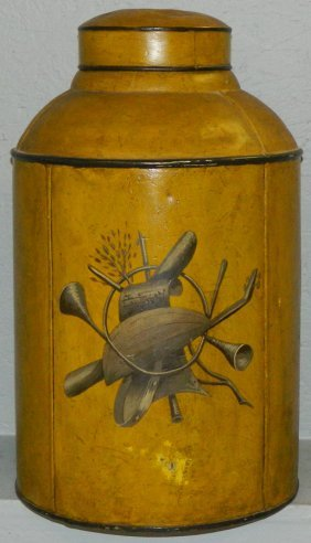 Paint Decorated Tea Canister.