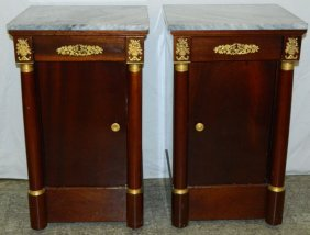 Pair French Empire Marble Top Half Commodes.