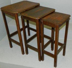 3 English Oak Nesting Tables.