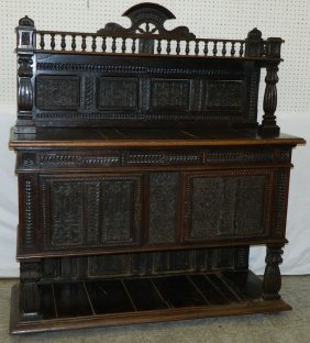 18th C. Carved Jacobean Sideboard.