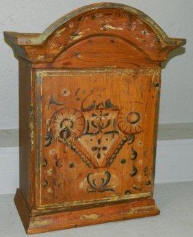 18th C. Painted Pine Swedish Hanging Cabinet