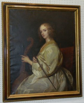 Large 19th C. Ooc Portrait Of Lady With Cello.