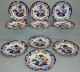 10 Ant. Flow Blue Amherst Ironstone Type Plates.