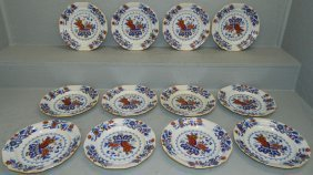 Set Of 12 Ironstone China Dec. Dinner Plates.