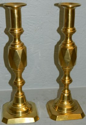 Pair Of Beehive Push Up Candlesticks.