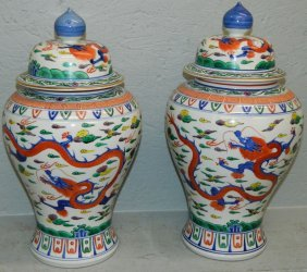 Pair Of Chinese Covered Jars.