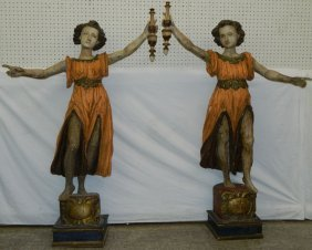 Pair 8th-19th C. Large Cont. Carved Torch Bearers